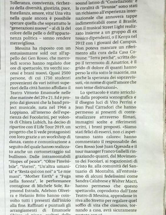 Gazzetta del Sud – Messina – 24 Febbraio 2019